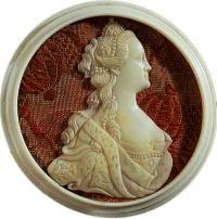 Портрет Екатерины II. 1780-е годы. Кость. Холмогоры. ГЭ