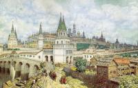 Расцвет Кремля. Всехсвятский мост и Кремль в конце XVII века. Рис. А. М. Васнецова
