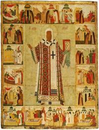Алексий митрополит с житием. 1480-е годы. 197 × 152 см. Государственная Третьяковская галерея