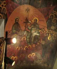 Фреска «Сопрестолье». Этот собор. Около лика Бога-Отца надпись «Господь Саваоф».