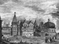 Деревянный дворец в Коломенском. Гравюра Гильфердинга, 1780 год