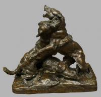 Поединок волка с собакой. Бронза. 1900