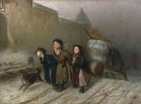 Кто автор картины «Тройка. Ученики мастеровые везут воду»?