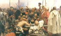 В какой период И. Е. Репин писал картину «Запорожцы»?