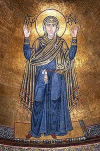 Как называют мозаику Богоматери в центральной апсиде Софии Киевской?