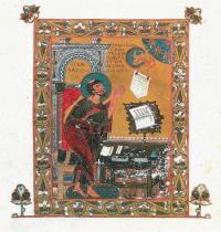 Из какой древнерусской рукописи 11 века  эта миниатюра «Евангелист Лука»?