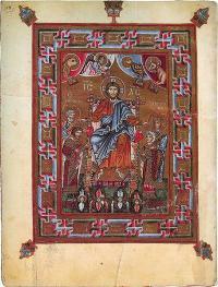 Из какой древнерусской рукописи 11 века  эта миниатюра «Христос на троне, коронующий князя Ярополка и его жену Ирину»?
