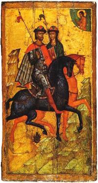 Борис и Глеб на конях. Середина XIV в. Государственная Третьяковская галерея