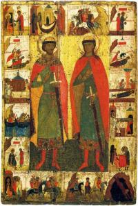 Борис и Глеб с житием. Вторая четверть XIV в. Государственная Третьяковская галерея