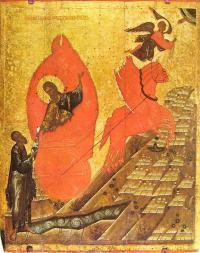 Какой школе принадлежит икона 14 века «Огненное восхождение Ильи»?