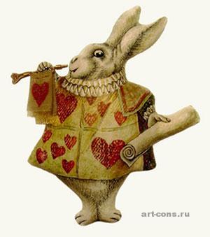 """Текстильная игрушка - магнит """"Белый кролик"""", по мотивам рисунка Д.Тенниела."""