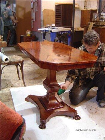 Реставрация стола, лакировка полировка.