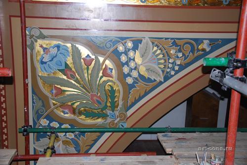 Фрагмент орнаментальной росписи Спасо-преображенского собора. Орнаментальный фрагмент в хорах.