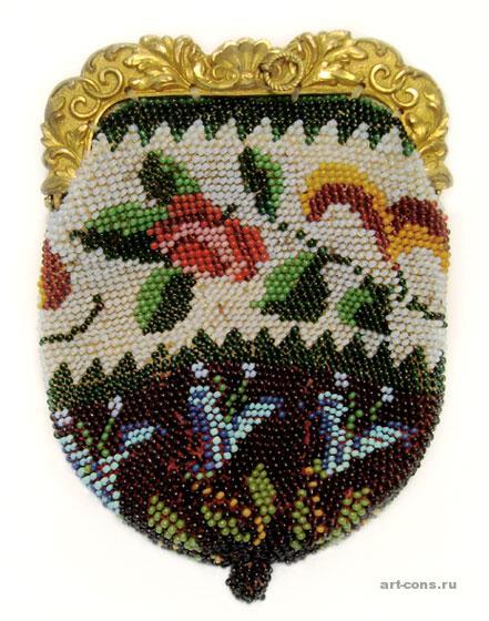 Кошелек, вязаный с бисером, 19 век. После реставрации