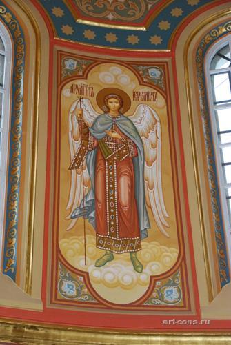 Роспись в барабане Спасо-Преображенского собора Николо-Угрешского м-ря. Архангел Иеремиил. По окончании.