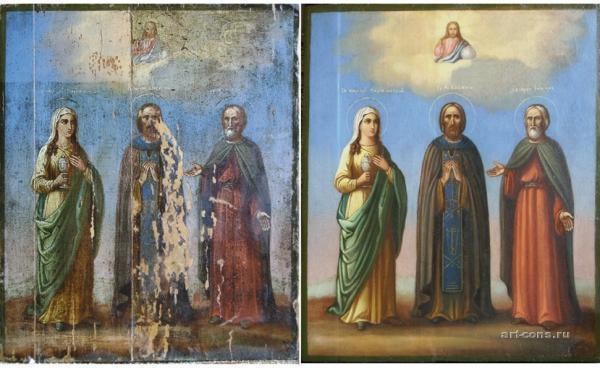 Реставрация иконы 19 век, масло. До и после реставрации.