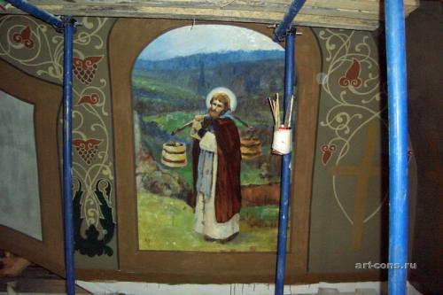 В процессе работы над копией с триптиха Нестерова  М. В. «Труды Сергия Радонежского».