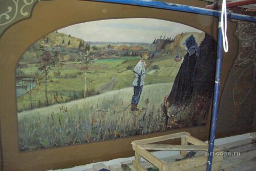 В процессе работы над копией картины Нестеров М. «Видение отроку Варфоломею»
