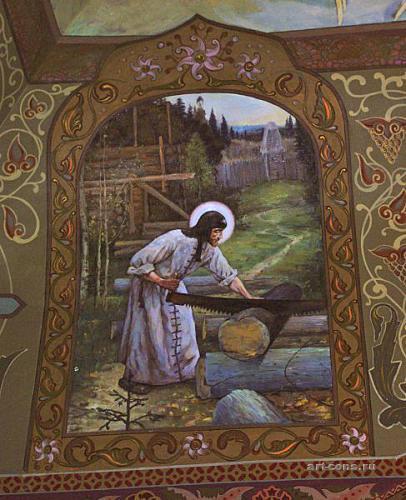 Законченная работа копии фрагмента триптиха Нестерова М. В. «Труды Сергия Радонежского»