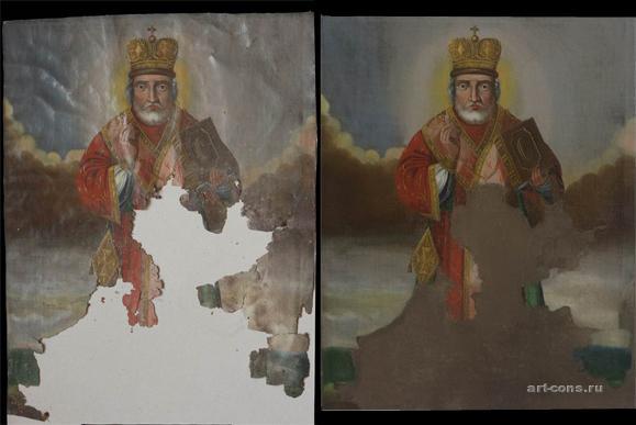 Ікона Св.Миколая (полотно,олія) до реставрації та після із лицевої сторони ікони