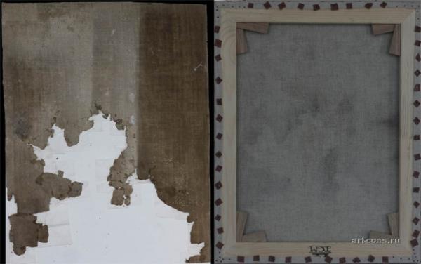 Ікона Св.Миколая (полотно,олія) до реставрації та після зі зворотньої сторони ікони