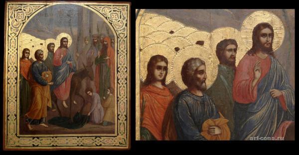 Вход Господень в Иерусалим 19 век (смешанная техника-темпера, масло) после реставрации (общий вид, фрагмент)