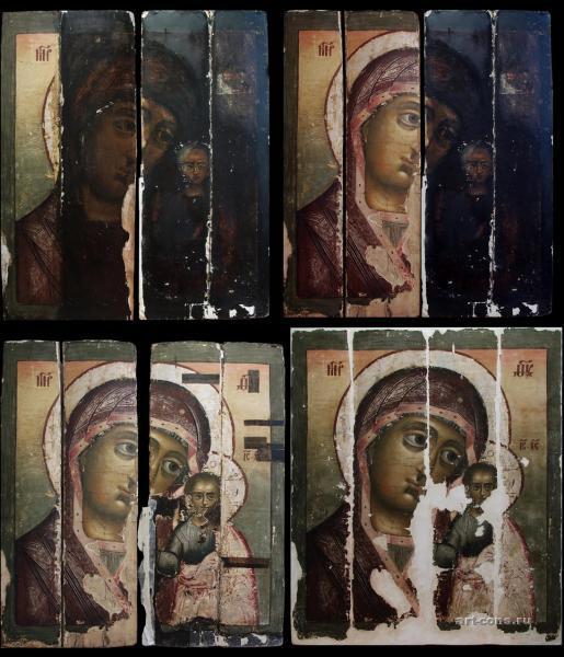 Казанская икона Божьей Матери в процессе реставрации Начало 18-го века.