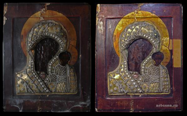 Реставрация Казанской Иконы Божьей Матери 19век (лики Богоматери и Спасителя 18 век) До реставрации и после удаления поверхностных загрязнений,с пробой на удаление лака