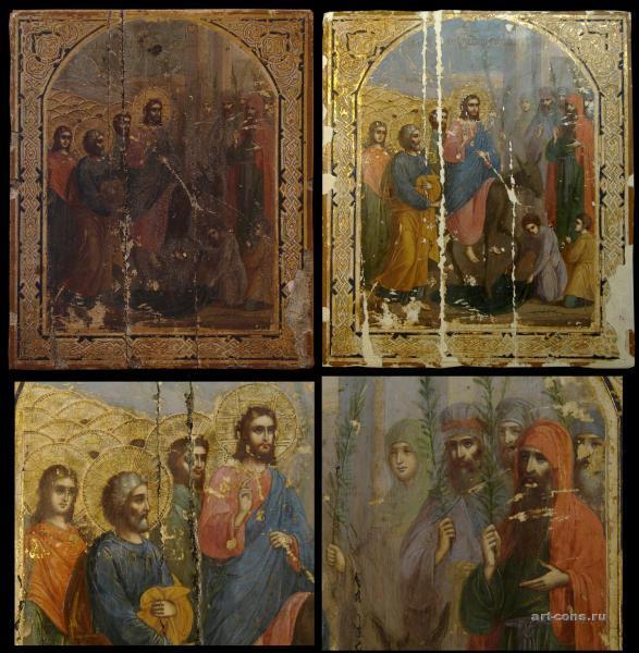 Вход Господень в Иерусалим 19 век (смешанная техника-темпера, масло) До реставрации (общий вид, фрагмент)  и в процессе реставрации ( с реставрационным грунтом)
