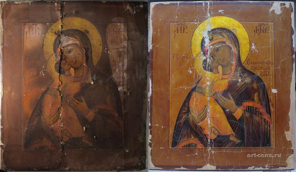 реставрация Владимирской икона Богоматери 19 век.