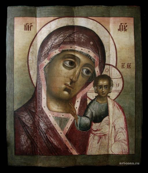 Казанская икона Божьей Матери после реставрации Начало 18-го века.