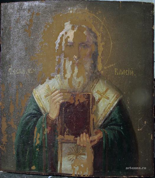 Святой Власий 19 век. дерево/масло Общий вид до реставрации