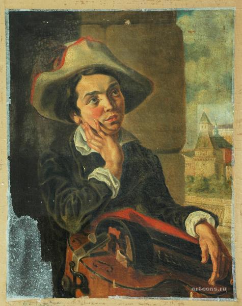 Мальчик с мандолиной до реставрации