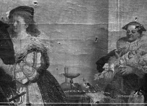 "Штиглиц, особняк.А.Вагнер, А.Лизенмайер ""Возвращение с охоты"" Нач.60-х годов.19в., х.м. 358х550см. Фрагмент. Фото фрагмента картины до реставраци"