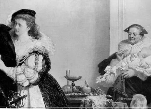 """Штиглиц, особняк. А.Вагнер, А.Лизенмайер """"Возвращение с охоты"""" Нач.60-х годов.19в., х.м. 358х550см. Фрагмент. Фото фрагмента картины после реставрации"""