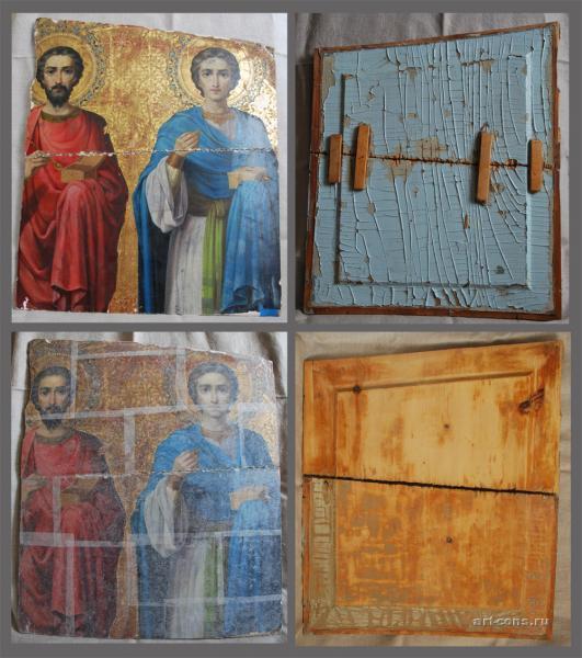 Уцелевший фрагмент иконы до и в процессе реставрации.