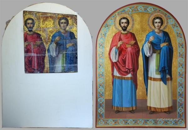 Икона в процессе и после реставрации-реконструкции.
