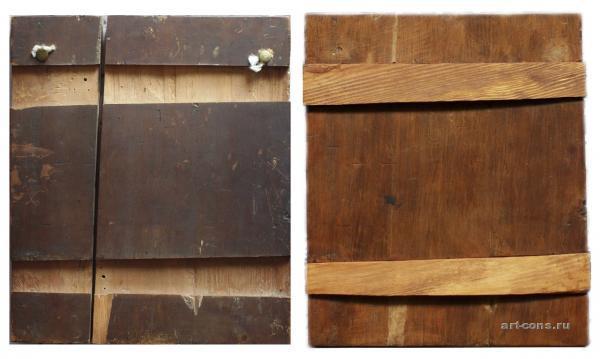 Реставрация иконы, общий вид до и после реставрации