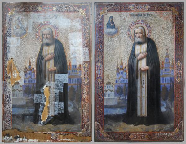 Икона в процессе и после реставрации.