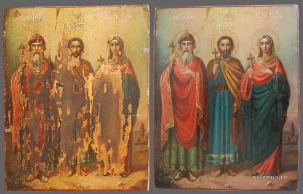 Икона до и после реставрации.