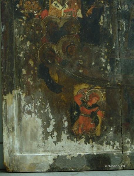 Икона Успение богоматери дерево,темпера, 17 век. Фрагмент. До реставрации