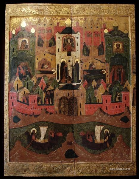 Соловецкая обитель 17 век. 120х90 в процессе реставрации