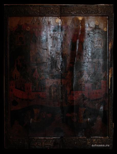 Соловецкая обитель 17 век. 120х90 до реставрации