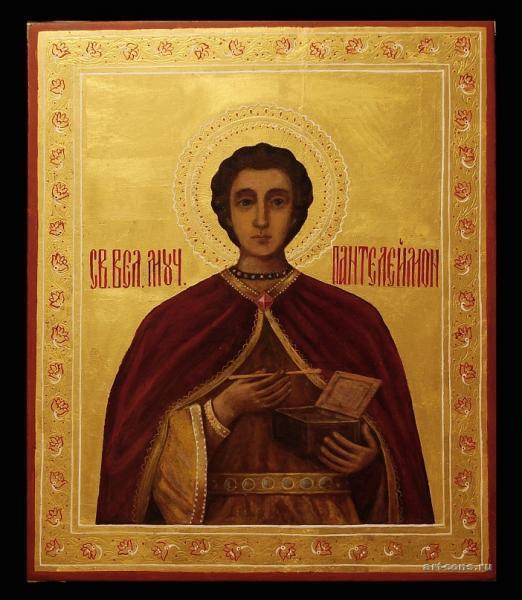"""реставрация иконы """"Святой Пантелеймон"""" 19 век."""