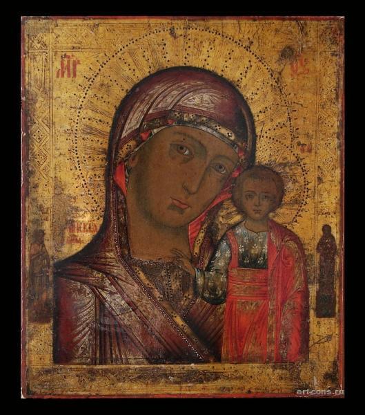 Казанская икона Божьей Матери. 19 век. До реставрации.