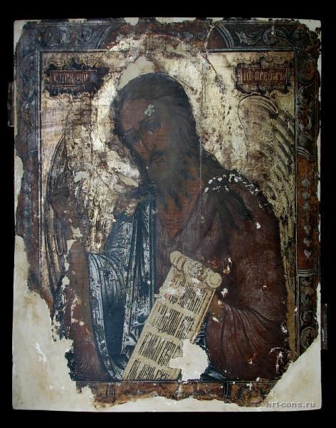 Иоанн Креститель Ангел Пустыни. в процессе реставрации.17 век
