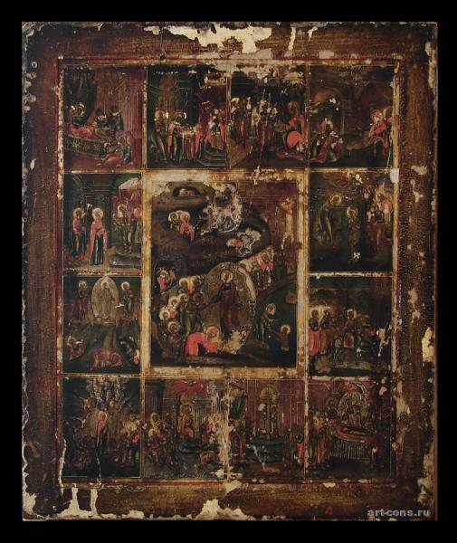 Воскресение и сошествие во ад с праздниками.19 век.