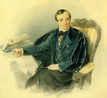 Чей акварельный портрет работы А.И. Клюндера?