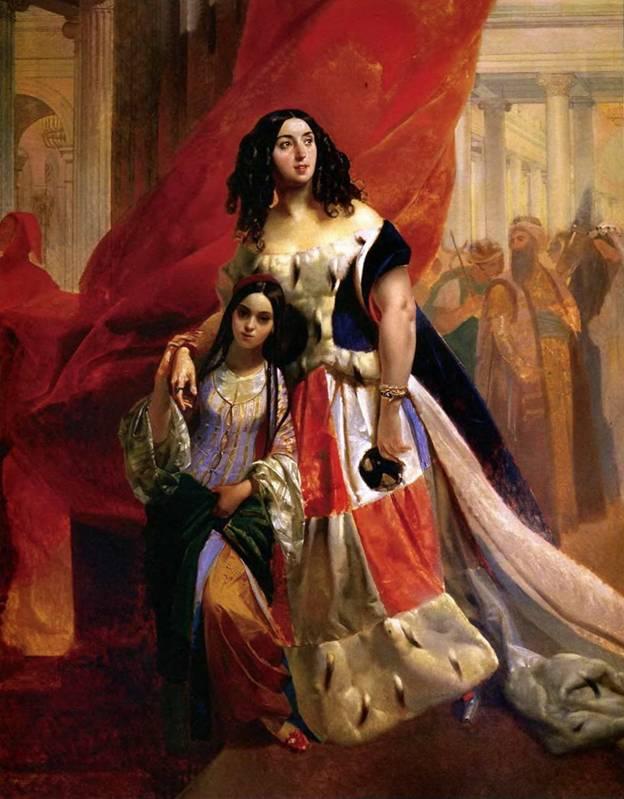 Кто автор полотна «Графиня Ю. П. Самойлова, удаляющаяся с бала с приемной дочерью Амацилией Паччини»?