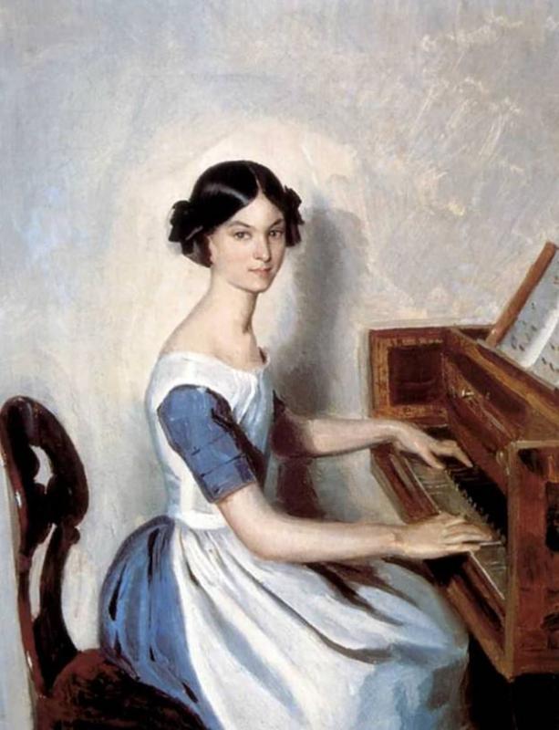 Кто автор портрета Н. П. Жданович за фортепиано?